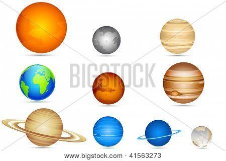 Abbildung Reihe von Planeten mit Sonne und Mond