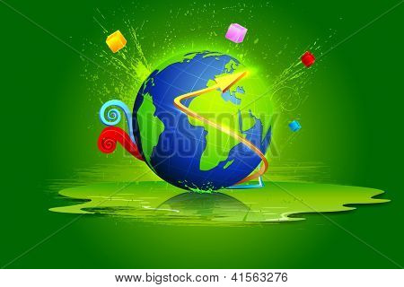 illustration of globe with colorful abstract shape