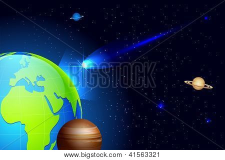 illustration of shooting comet coming towards earth in universe