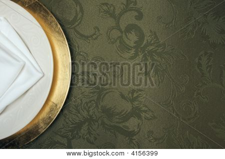 Silk Background And Plate Setting