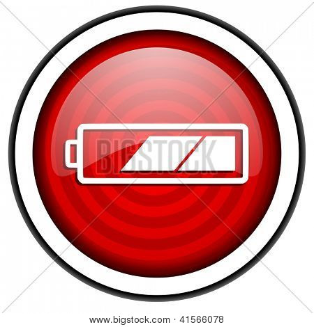 red circle glossy web icon with pictogram isolated on white background