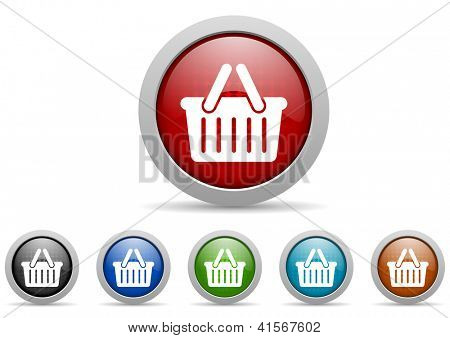 colorful web icons set on white background