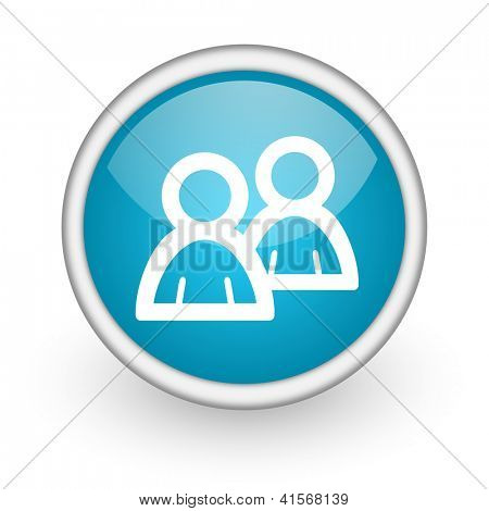blue circle glossy web icon with pictogram on white background
