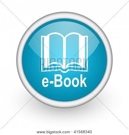 icono de círculo azul brillante web con pictograma sobre fondo blanco