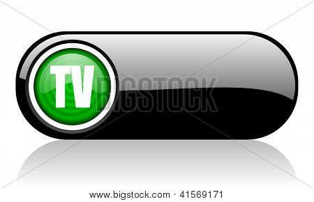 tv black and green web icon on white background