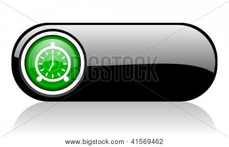 alarm clock black and green web icon on white background