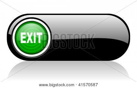 exit black and green web icon on white background