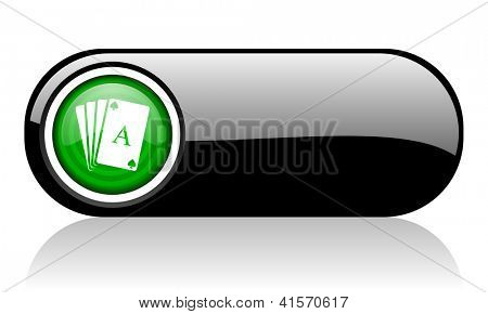 playing cards black and green web icon on white background