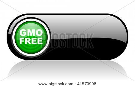 gmo free black and green web icon on white background