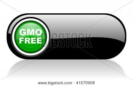 gmo free black and green web icon on white background