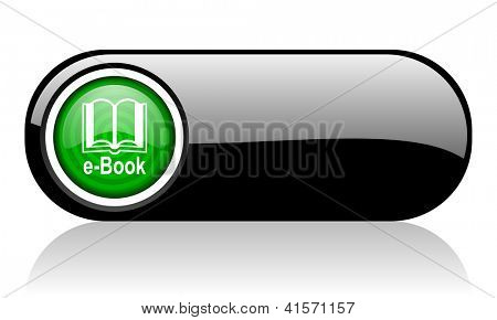 e-book black and green web icon on white background