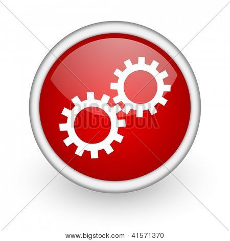 gears red circle web icon on white background
