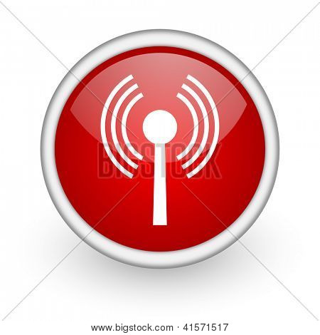 wifi red circle web icon on white background