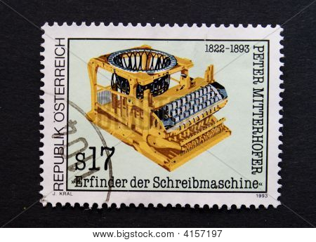 Postage Stamp With Typewriter