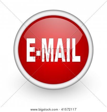 mail red circle web icon on white background