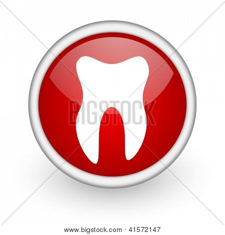 tooth red circle web icon on white background
