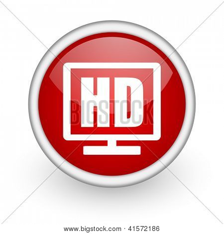 hd display red circle web icon on white background