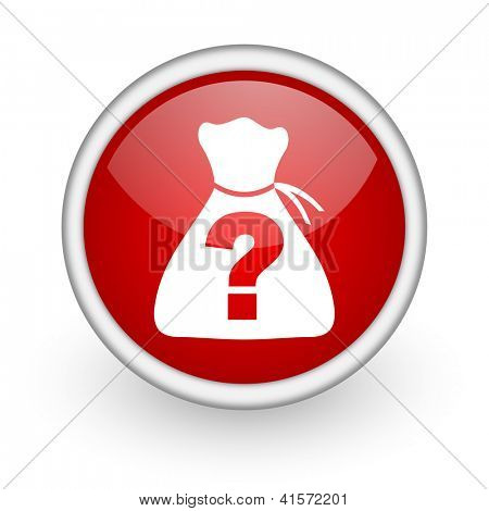 riddle red circle web icon on white background