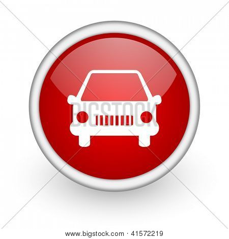 car red circle web icon on white background