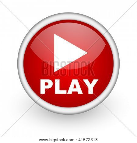 play red circle web icon on white background