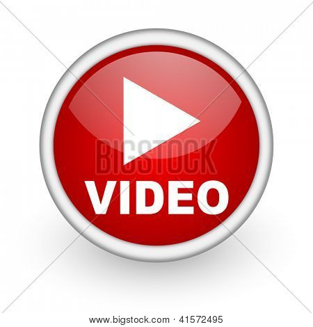video red circle web icon on white background