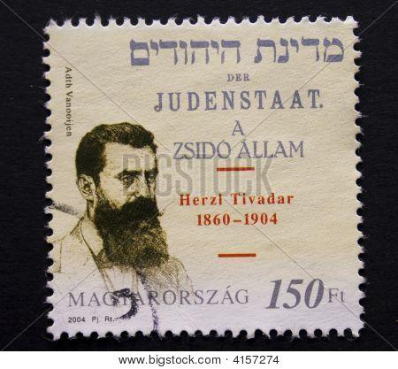 ungarische Briefmarke mit Theodore Herzl