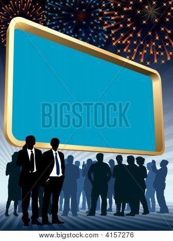 Large Billboard And Fireworks