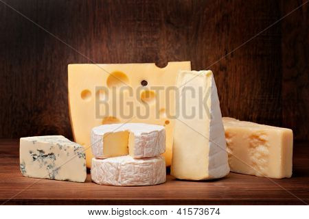 delicious cheese on a wooden table