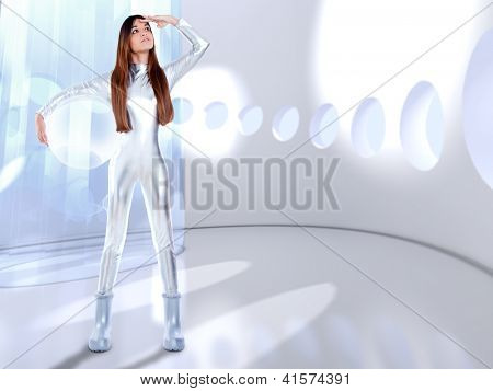 Astronaut futuristic silver woman glass helmet in modern spaceship indoor [ photo-illustration]