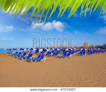 Beach Las vistas in Adeje coast hammocks at Tenerife south Canary Islands [ photo-illustration]