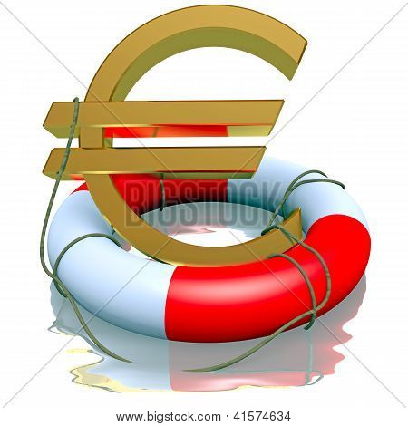 Euro symbol in life-buoy