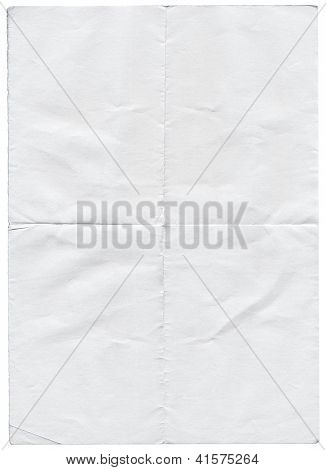 Isolated old white folded torn paper.