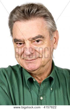 gut aussehend älterer Mann, isoliert auf weiss