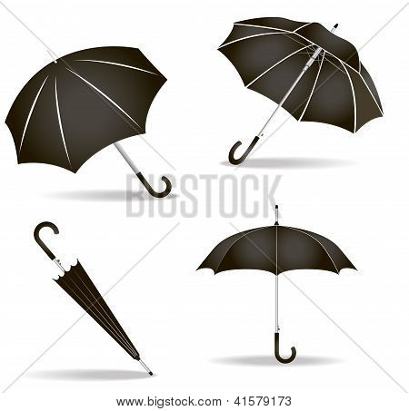 Black Umbrellas Set