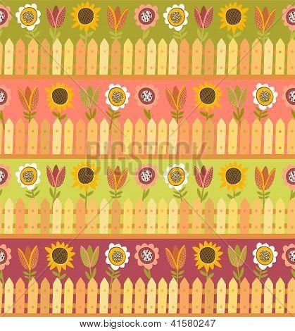 Land nahtlose Muster mit Zaun und Blumen