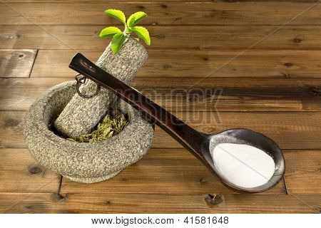 Natural sugar substitute Stevia in the form of powder and dried leaves