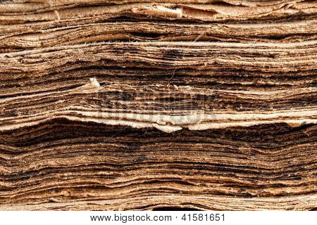 Extreme closeup on the tattered pages of a 300 years old ancient book