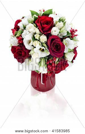Colorful Flower Bouquet Arrangement Centerpiece In Red Vase Isolated On White Background