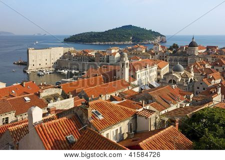 Dubrovnik Sunny Afternoon Panoramic View With The Harbor