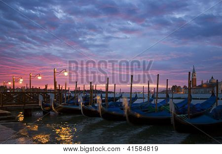 Romantic Venice Sunrise With Gondolas
