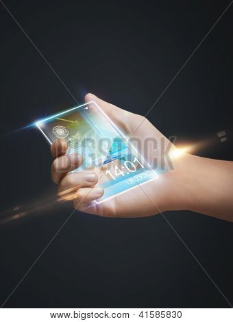 closeup picture of hand holding smart phone