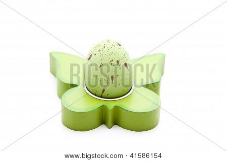Green Easteregg on white background