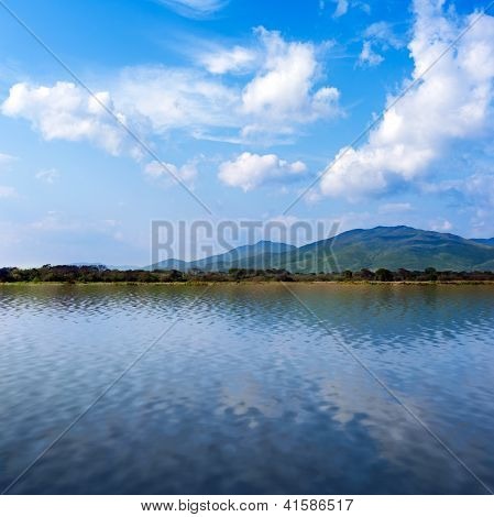 Seaview With Beautiful Clouds And Mountains