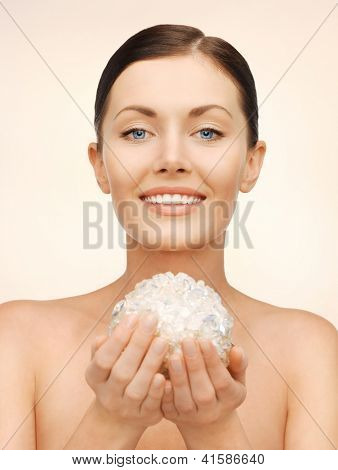 bright picture of beautiful woman with bath ball