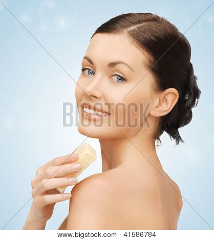 bright picture of beautiful woman with soap