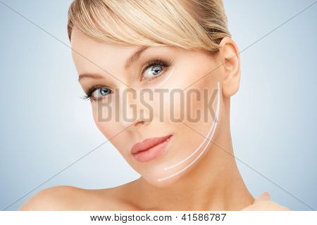 picture of beautiful woman ready for cosmetic surgery