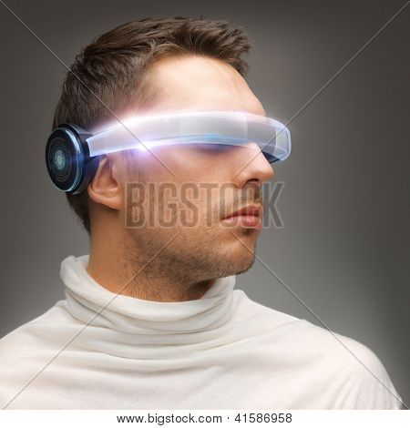 picture of handsome man with futuristic glasses.