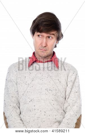 Portrait Of A Confused Man Looking To The Side