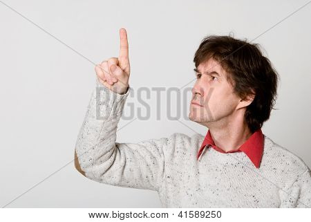 Man Pressing / Pushing Button Isolated On Light Background.