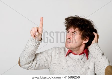 Man With Disheveled Hair Pointing